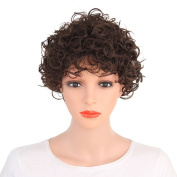 Kanuosi Short Curly Wig with Bangs Synthetic Pixie Wigs for Women Black Full Wigs Heat Resistant Fibre Wig