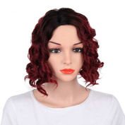 Kanuosi Short Curly Wigs Synthetic Red Wigs for Black Women No Bangs Heat Resistant Wig Bob Hairstyles Layered Wig
