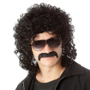 Men Short Curly Hair Wigs Black California Rocker Costume Wig with Moustache Synthetic Cosplay Wigs with Wig Cap WIG154