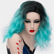 Women Halloween Cosplay Wigs Short Curly Ombre Hair Shoulder Length 36cm Colourful Wig Dark Roots Fluffy Synthetic Wigs with Wig Cap Blue COS001BL