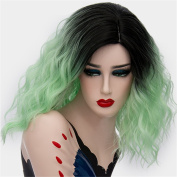 Halloween Cosplay Wigs Short Curly Ombre Hair for Women Fluffy Should Length 36cm Colourful Synthetic Wigs Dark Roots with Wig Cap COS001G