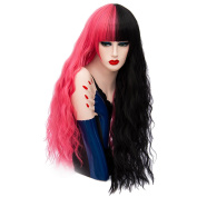 Long Wavy Curly Colourful Hair Wigs 80cm Cosplay Halloween Anime Full Synthetic Wig for Women with Wig Cap Black Red COS002R