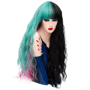 Long Wavy Curly Colourful Hair Wigs 80cm Cosplay Halloween Anime Full Synthetic Wig for Women with Wig Cap COS002BL