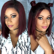 Brazilian Virgin Hair Lace Front Wigs with Baby Hair Short Bob Glueless Lace Wigs for Black Women Ombre #1b/burgundy
