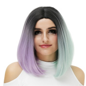 Short Colourful Ombre Hair Wigs Straight Bob Cosplay Halloween Synthetic Wigs for Women Dark Roots to Purple with Wig Cap COS004