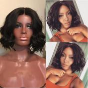 Brazilian Virgin Bob Wavy Human Hair Wig Short Bob Glueless Lace Front Human Hair Wigs with Baby Hair
