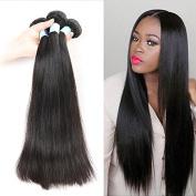 BLY Brazilian Straight Hair 3 Bundles With a Free Part Lace Closure Unprocessed Human Virgin Hair Bundles Natrual Black