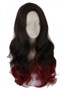 Topcosplay Long Wave Ombre Wig Anime Cosplay Wig Halloween Wig for Women Brown Dark Red Colour