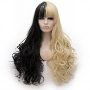 Amback Long Loose Wave Wig for Women Full Bangs Mix Colour Cosplay Party Wigs Cap