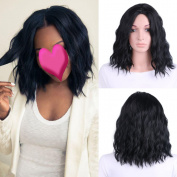 TKEKON Short Curly Centre Parted Wigs for Black Women Natural Beach Wave Wigs Come with Wig Cap