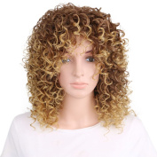TKEKON Short Curly Wigs for Black Women Synthetic Wigs Blonde Mix Brown Ombre Wig Come with Wig Cap