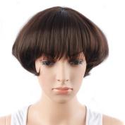 TKEKON Short Bob Wigs Lovely Women Girls Short Fashion Puff Wigs with Neat Bangs Come with Wig Cap