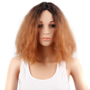 TKEKON Women Girls Centre Parted Short Curly Dark Roots Ombre Blonde Wigs Natural Ombre Wigs Come with Wig Cap