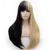 Amback Lolita Cosplay Wig for Women Flat Bangs Mix Grey Pink Long Straight Wigs