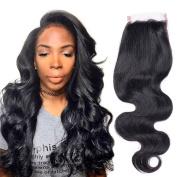 7A Brazilian Body Wave Human Hair Closure Free Part 130% Density Pure Hand Swiss Lace Closure 4x 4 No Bleached Knots