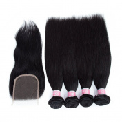 Brazilian Straight Hair 4 Bundles With a Free Part Lace Closure 100% Unprocessed Human Hair Bundles Natural Colour
