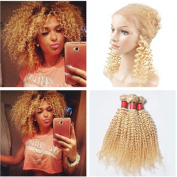 Tony Beauty Hair Kinky Curly #613 Virgin Brazilian Human Hair Weave with 360 Lace Frontal Closure 4Pcs Lot Blonde Human Hair 3Bundles with 360 Full Lace Closure 22.5x4x2