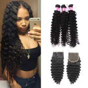 Forawme Brazilian Virgin Deep Curly Hair 5pcs Lot 12 14 16 18 With 25cm Free Part Lace Closure With Bundles Unprocessed Human Hair Weave Extension
