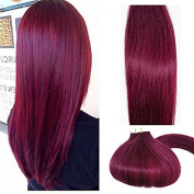 Tape In Human Hair Extensions Burgundy 46cm 20pcs 40g Set Silky Straight Skin Weft real human remy hair pieces
