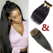 Brazilian Straight Free Part Lace Closure 10cm x 10cm with 3 Bundles Hair Extension 8A 100% Unprocessed Virgin Human Hair Weave Weft Natural Colour
