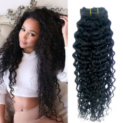 Doren Curly Clips In Human Hair Extensions 8A Brazilian Virgin Remy Hair Deep Curly Clip Ins for Women 8Pcs 20Clips 100g Natural Colour 50cm