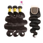 HLSK Hair Brazilian Body Wave Virgin Remy Human Hair 3 Bundles 300g with 36cm Lace Closure Human Hair Extensions 10cm x 10cm Free Part Natural