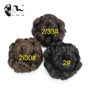 Synthetic Natural Curly Chignon Clip in Plastic Comb Elastic Bride Bun Hairpieces For Women 65g 3Colors Black Fake Hair