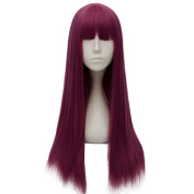 Netgo Purple Cosplay Custome Wigs with Bang for Women Girls Long Straight Halloween Party Wigs
