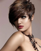 Womens Heat Resistant Black Short Straight Cosplay Full Hair Wig Cool Hair Piece black and coffee
