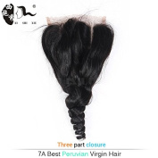 Brazilian Loose Wave Closure 4x 4 Lace Three Part Remy Human Hair Lace Closure Natural Colour