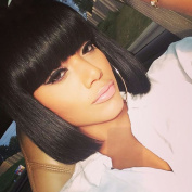 WTB Hair Short Black Bob Wigs for Black Women Synthetic Hair Wigs with Bangs Black Bob Wig Short Style