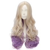 Netgo Blonde Ombre Purple Wig Long Wavy Middle Parting Party Wigs Heat Friendly None Lace Wigs for Women Girls