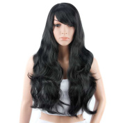 80cm Black Wave Roll Long Hair Wigs Heat Resistant Synthetic Hair Wig