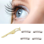 False Magnetic Eyelashes 3D Reusable Fake,Premium Quality False Eyelashes Set for Natural Look - Best Fake Lashes Extensions,2 Pairs 4 Pieces, With a Gold Colour Clip