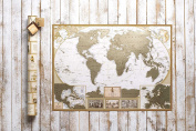 Antique Edition Gold Scratch off World Map, Very Detailed -10.000 Cities Big Size-90cm x 60cm , US States Outlined, Unique Tool Set, Glossy Finish Travel Map. Perfect for Travellers by MyMap