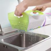 Transer Portable Kitchen Fruit Vegetable Wash Sieve Plastic Colander/Strainer Drain Bag Basket Bath Storage Tools Sink Holder Storage Rack