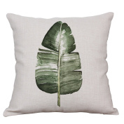 YeeJu Green Fern Leaf Decorative Throw Pillow Case Cushion Covers Square Cotton Linen Nordic Style Couch Pillow Cases 46cm x 46cm