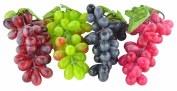 SAMYO 4 Bunches of Artificial Black ,Red, Green and Purple Grapes Fake Fruit Home House Kitchen Party Wedding Decoration Photography