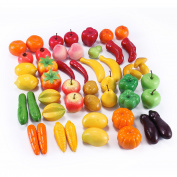 Lifelike Artificial Fruits (Assorted) 48pcs - Apple, Pumpkins, Mushrooms, Corns, Peppers, Peaches, Potatoes, Carrots, Potatoes and more!