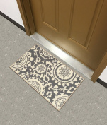 Rubber Backed Mat 46cm x 80cm Floral Swirl Medallion Grey & Ivory Doormat Accent Non-Slip Rug - Rana Collection Kitchen Dining Living Hallway Bathroom Pet Entry Rugs RAN2033-12