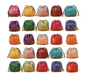 30Pcs Chinese Silk Brocade Embroidered Drawstring Jewellery Pouch