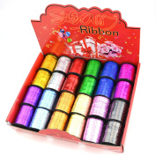 STAR 0.5cm and 1cm Holographic Sparkles Curling Ribbon in 12 Colours   24 Spools in Products Display Quickly   Sparkly Ribbon Great for Gift Wrap and Balloon String