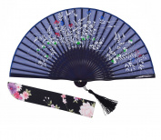 "Amajiji Chinese Japanese Folding Hand Fan for women,Vintage Retro Style 8.27"" (21CM) Bamboo Wood Silk Hand Fans"