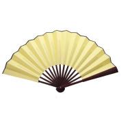 TrendBox Chinese Traditional Nylon-Cloth Handheld Folding Fan For Pratice Performance Dancing Ball Parties Unisex - Cream Yellow