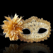 Nanier Mistery Luxury Bling Lace Sexy Charming Lady Mask, Women's Venetian Masquerade Mask Gold