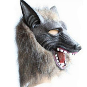 Hofumix Wolf Head Mask Full Face Wolf Latex Mask Horror Animal Wolf Head Prop Crazy Masks for Cosplay Halloween Masquerade Party Favour Prank