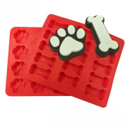 Cake Mould,Hunzed 2pcs Silicone Food Grade Puppy Pets Dog Paws Bones Cake Mould Decorating Tool Baking Mould