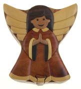 Handmade Carved Angel Intarsia Wood Puzzle Box Bundled With Hickoryville Instructions