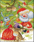 "Lemon Tree Cross Stitch Kits Beginners Cross-Stitching Accurate Pre-printed Pattern -Merry Christmas Friends 11CT 14""X16"", Frameless"