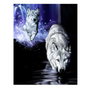 Fineser(TM) DIY Diamond painting Cross Stitch 5D Embroidery Paintings Rhinestone Pasted Whie Wolf C